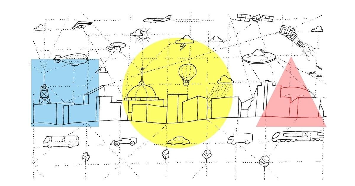 都市往来のイラスト